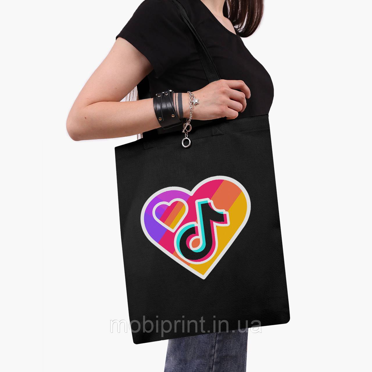 Эко сумка шоппер черная ТикТок (TikTok) (9227-1559-2)  41*35 см