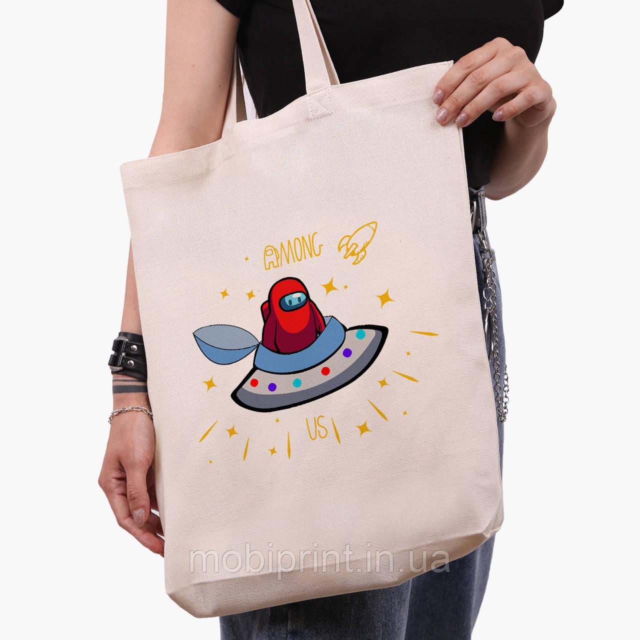 Еко сумка шоппер біла Амонг Ас (Among Us) (9227-2583-1) 41*39*8 см