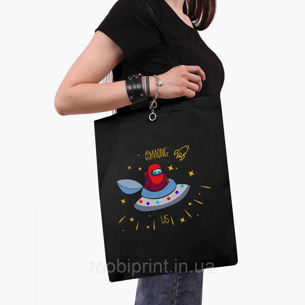 Еко сумка шоппер чорна Амонг Ас (Among Us) (9227-2583-2) 41*35 см