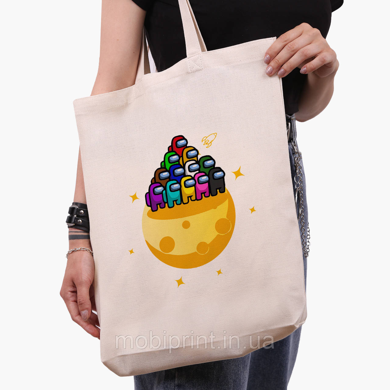 Еко сумка шоппер біла Амонг Ас (Among Us) (9227-2584-1) 41*39*8 см