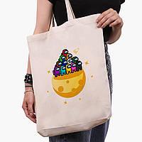 Еко сумка шоппер біла Амонг Ас (Among Us) (9227-2584-1) 41*39*8 см, фото 1