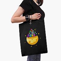 Еко сумка шоппер чорна Амонг Ас (Among Us) (9227-2584-2) 41*35 см, фото 1