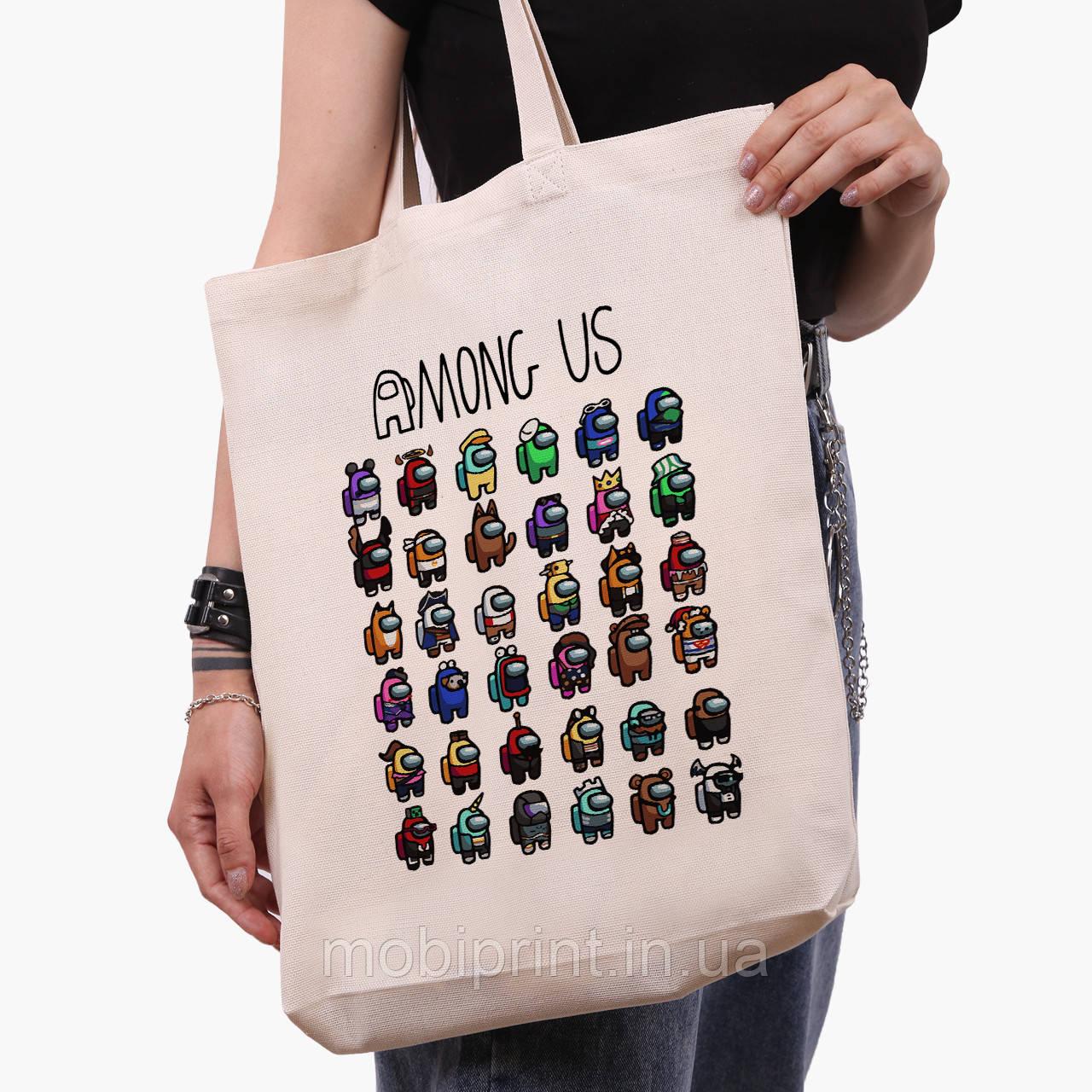 Еко сумка шоппер біла Амонг Ас (Among Us) (9227-2587-1) 41*39*8 см