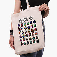 Еко сумка шоппер біла Амонг Ас (Among Us) (9227-2587-1) 41*39*8 см, фото 1
