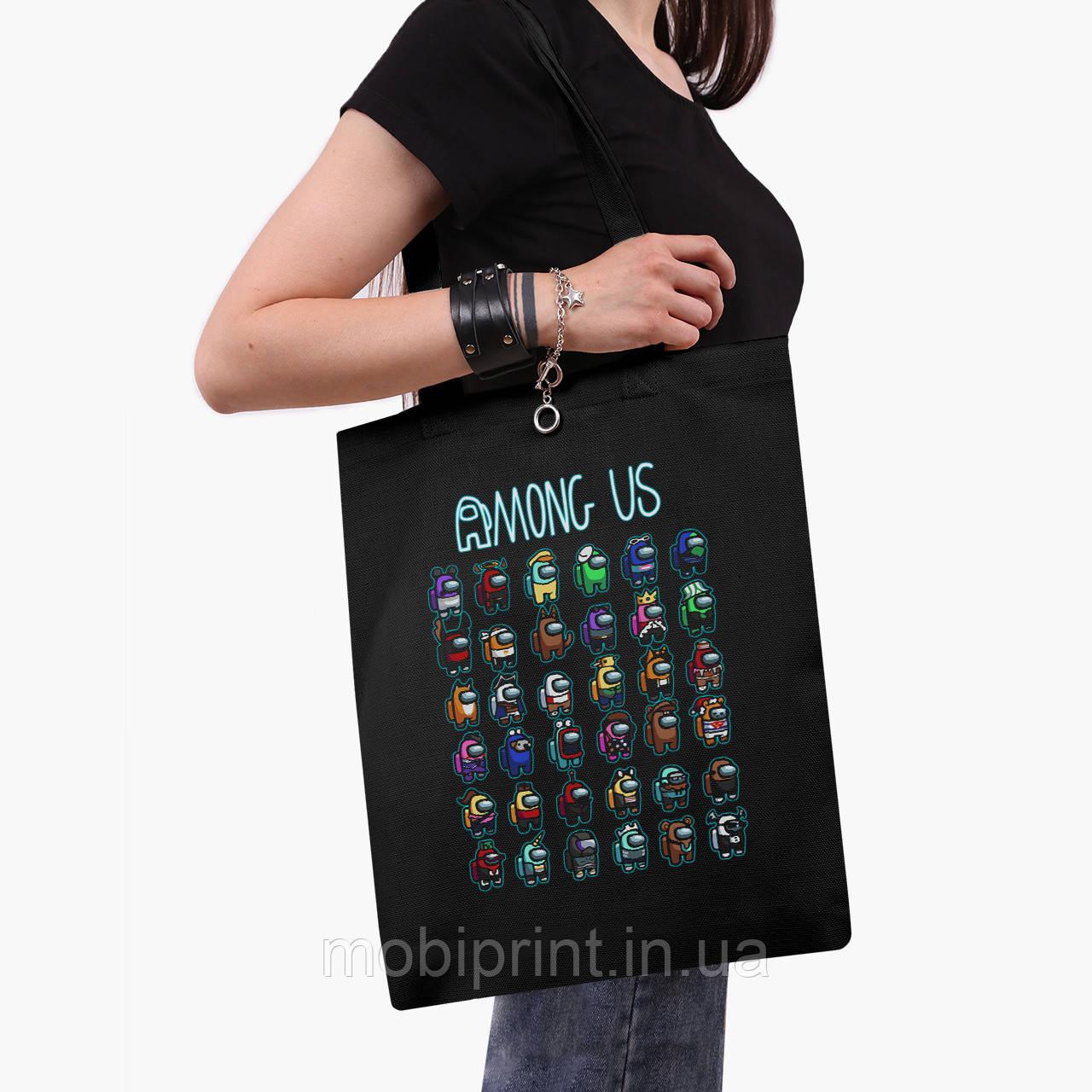 Еко сумка шоппер чорна Амонг Ас (Among Us) (9227-2587-2) 41*35 см
