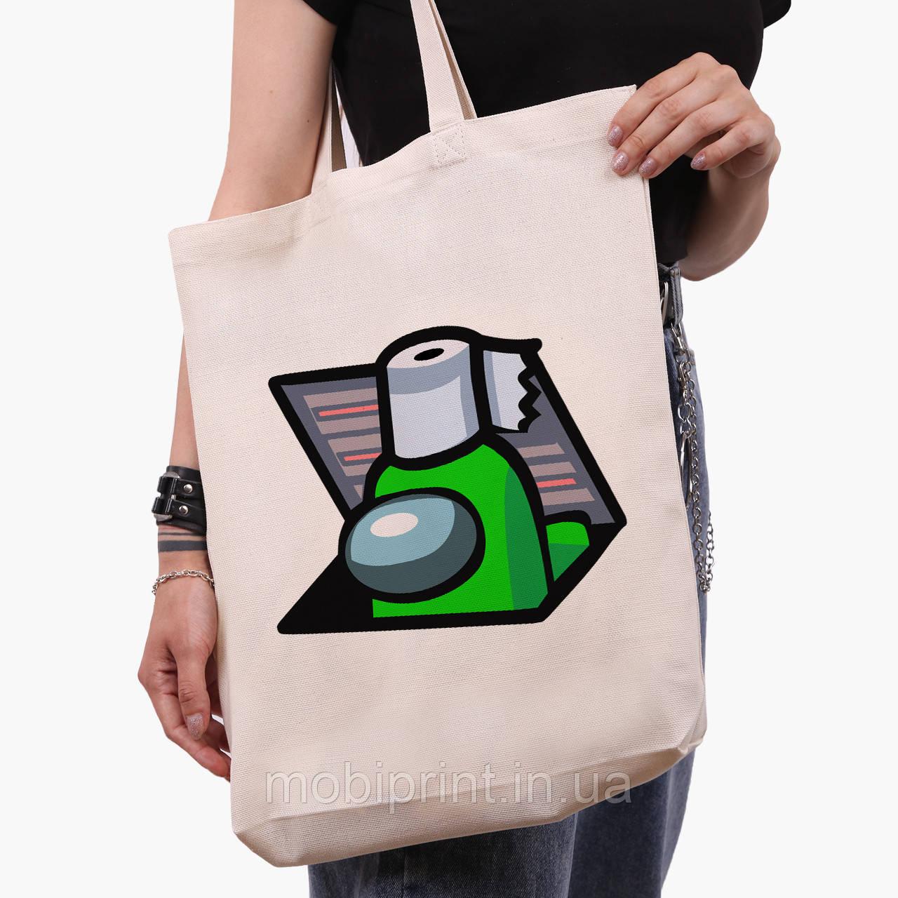 Еко сумка шоппер біла Амонг Ас Зелений (Among Us Green) (9227-2592-1) 41*39*8 см