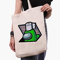 Еко сумка шоппер біла Амонг Ас Зелений (Among Us Green) (9227-2592-1) 41*39*8 см, фото 1