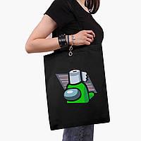 Эко сумка шоппер черная Амонг Ас Зеленый (Among Us Green) (9227-2592-2)  41*35 см , фото 1