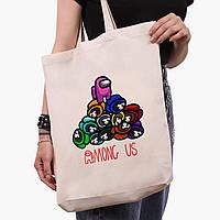 Эко сумка шоппер белая Амонг Ас (Among Us) (9227-2594-1)  41*39*8 см , фото 1