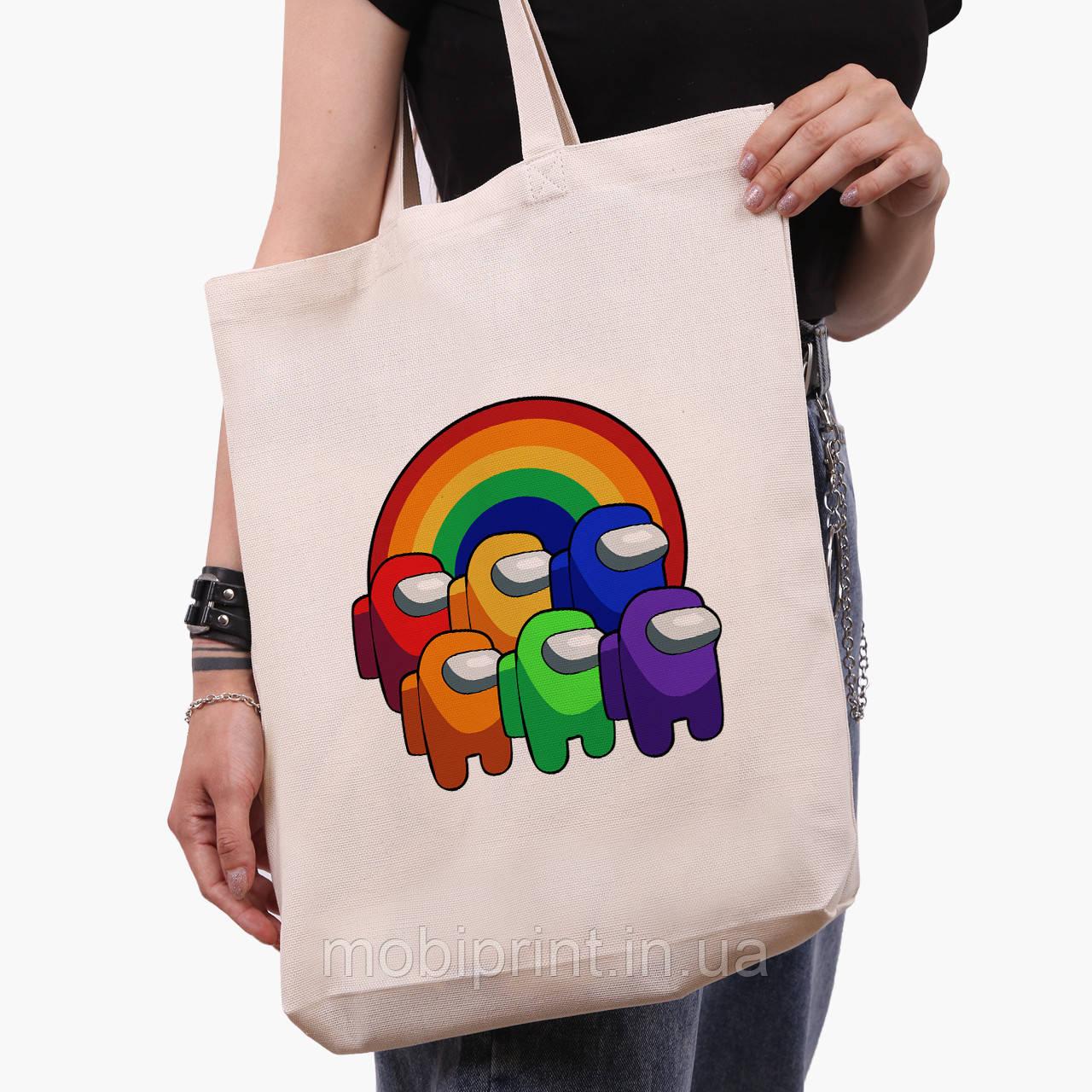 Еко сумка шоппер біла Амонг Ас (Among Us) (9227-2595-1) 41*39*8 см