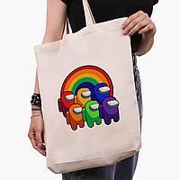 Еко сумка шоппер біла Амонг Ас (Among Us) (9227-2595-1) 41*39*8 см, фото 1