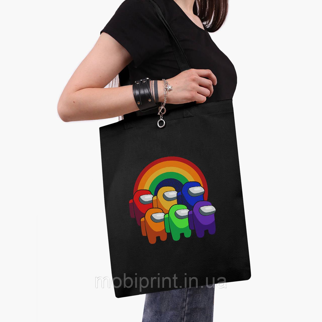 Еко сумка шоппер чорна Амонг Ас (Among Us) (9227-2595-2) 41*35 см