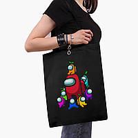 Эко сумка шоппер черная Амонг Ас (Among Us) (9227-2596-2)  41*35 см , фото 1