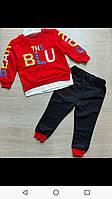 Спортивный костюм для мальчика на 2-5 лет красного, синего, желтого цвета с надписью оптом, фото 1