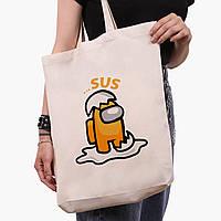 Эко сумка шоппер белая Амонг Ас Оранжевый Мистер яйцо (Among Us Mister egg) (9227-2597-1)  41*39*8 см , фото 1