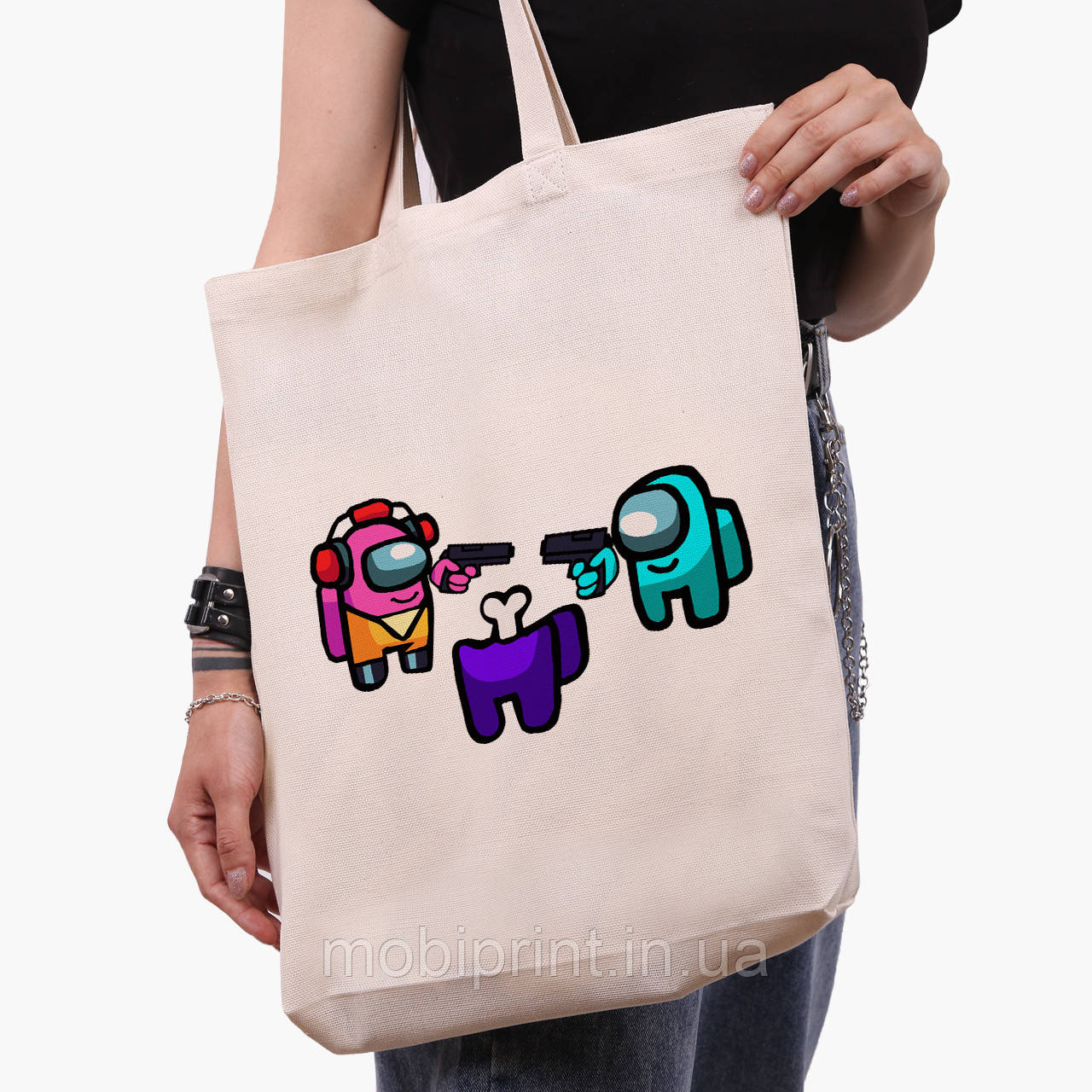 Еко сумка шоппер біла Амонг Ас (Among Us) (9227-2598-1) 41*39*8 см
