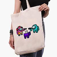 Еко сумка шоппер біла Амонг Ас (Among Us) (9227-2598-1) 41*39*8 см, фото 1