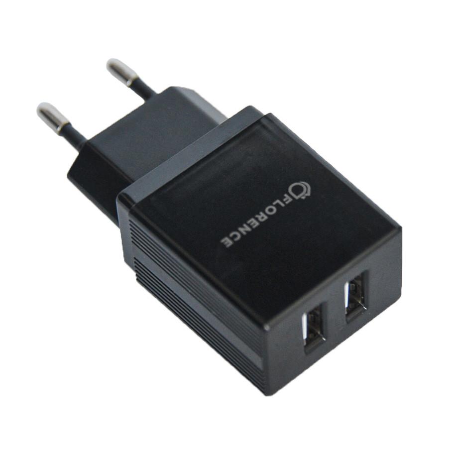 Сетевое зарядное устройство Florence (FL-1021-K) 2USB 2A Black