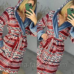Женский мягкий короткий халат с поясом с геометрическим принтом