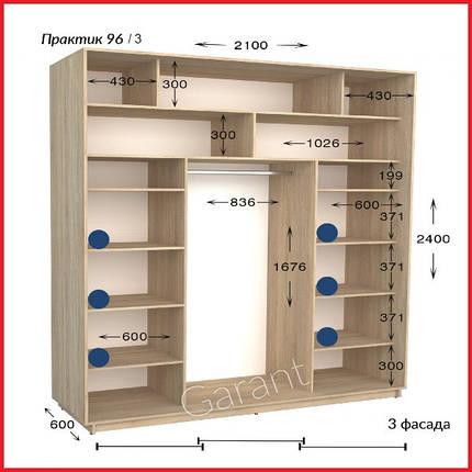 Шкафы купе ПРАКТИК 96-3 / ширина-2100/ глубина-450/600/ высота-2200/2400 (Гарант), фото 2