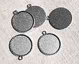 Основа сеттинг для кулона под кабошон Круглый Серебро античное 39х34 мм кабошон 30 мм, фото 4