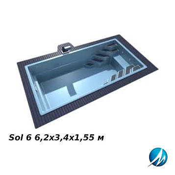Бассейн LAGOS Sol 6 6,2х3,4х1,55 м