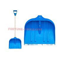 Лопата для снега пластмассовая АВС синяя 49х49 см, с черенком d=32 мм