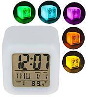 Часы хамелеон с термометром будильник ночник UKC 508 (1246)