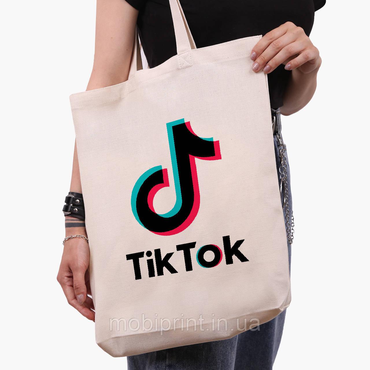 Еко сумка шоппер біла ТикТок (TikTok) (9227-1389-1) 41*39*8 см