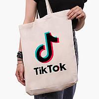 Еко сумка шоппер біла ТикТок (TikTok) (9227-1389-1) 41*39*8 см, фото 1