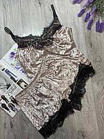 Пижама из редкоготурецкогомраморного велюра с кружевом, комплект майка и шорты