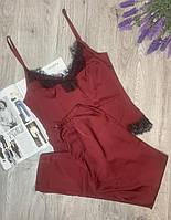Пижама из шелка Армани с кружевом, комплект майка и штаны