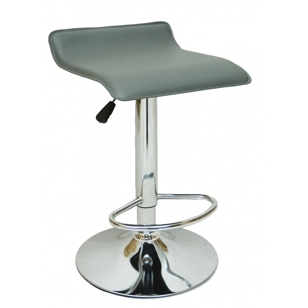 Барний стілець хокер з хромованою ніжкою навантаження до 120 кг м'який з плавним регулюванням висоти сірий