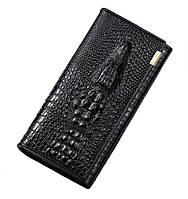 Жіночий гаманець з тисненням крокодила Banyanu чорний (ML1345)