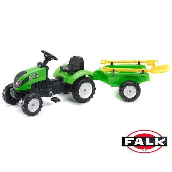Дитячий педальний трактор Falk 2057G з причепом на педалях для дітей
