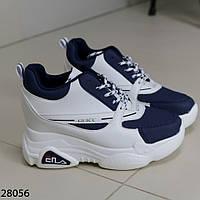 Женские сникерсы кроссовки на танкетке и платформе типа FILA Фила гуччи белые с синим