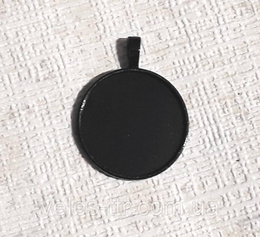 Основа сеттинг для кулона под кабошон Круглый Черный 40х32 мм кабошон 30 мм