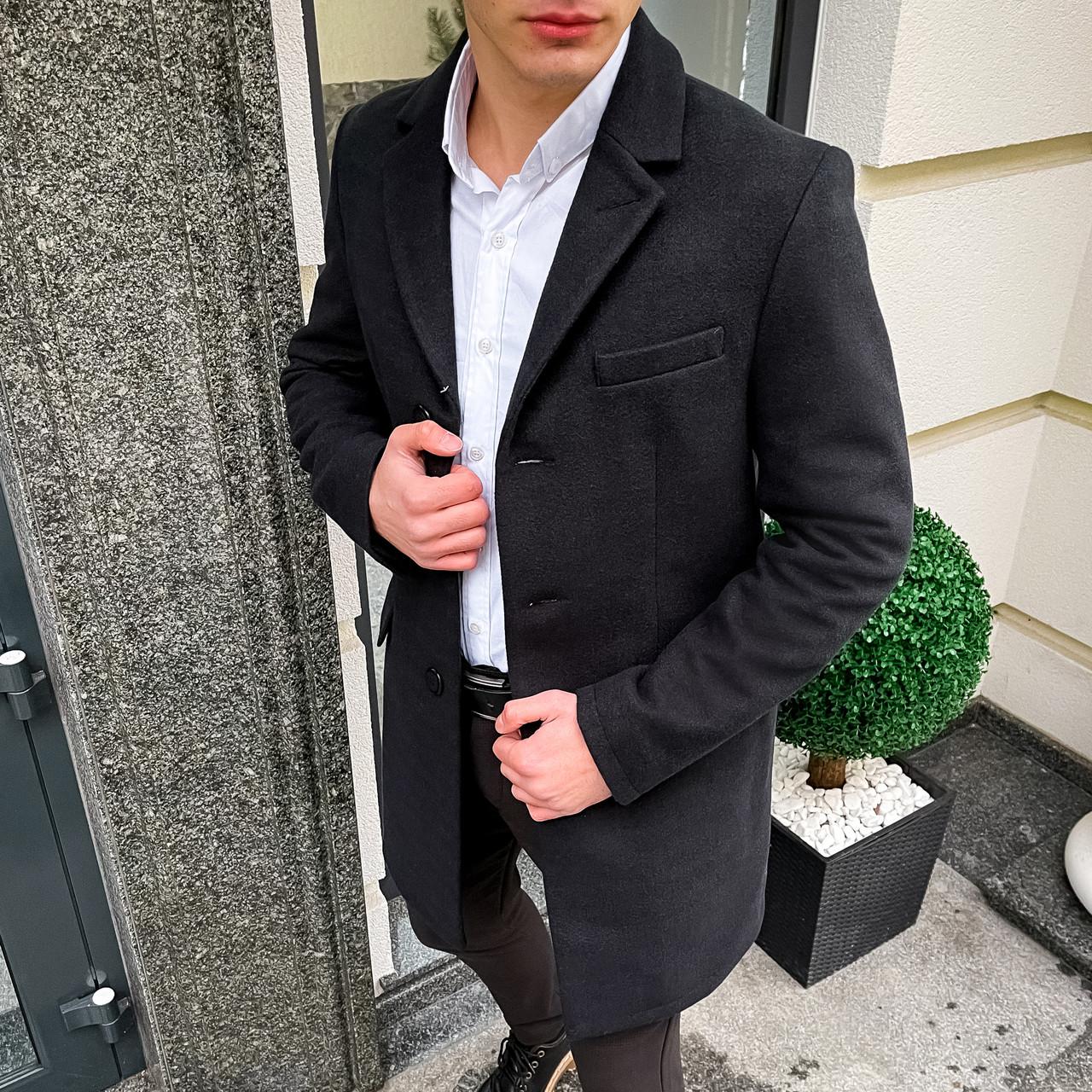 Чоловіче чорне пальто демісезонне Batya 2 Pobedov трейч-кашемір (чорне)