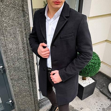 Мужское черное пальто демисезонное Batya 2 Pobedov трейч-кашемир (черное), фото 2