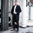 Чоловіче чорне пальто демісезонне Batya 2 Pobedov трейч-кашемір (чорне), фото 2