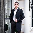 Чоловіче чорне пальто демісезонне Batya 2 Pobedov трейч-кашемір (чорне), фото 3