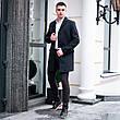 Чоловіче чорне пальто демісезонне Batya 2 Pobedov трейч-кашемір (чорне), фото 5