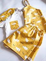 """Женская пижама-тройка """"Медведи белые"""" и маской для сна в подарок любимой девушке/подруге S"""