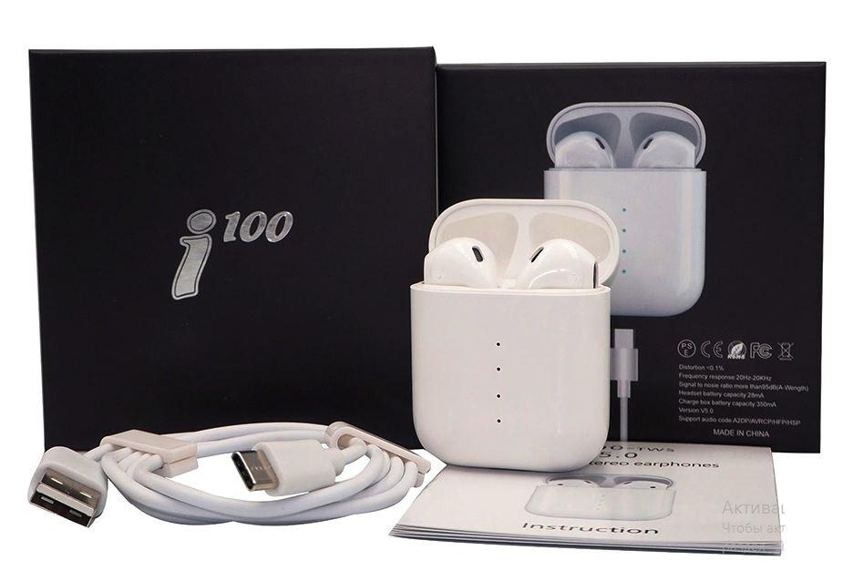 Бездротові стерео навушники TWS i100 сенсорне управління з розумним боксом
