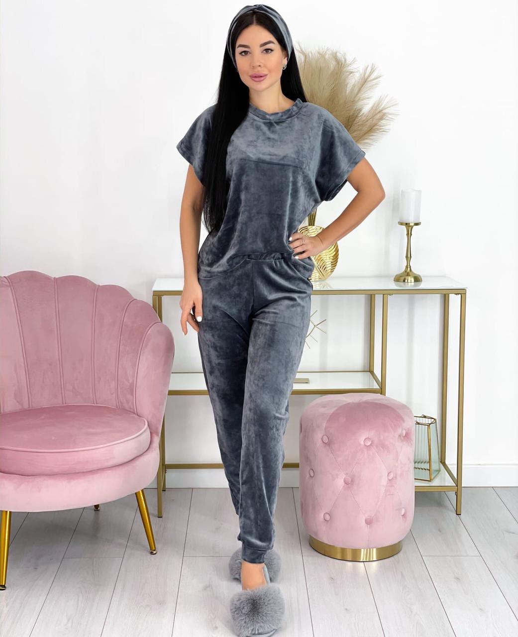Графітовий жіночий домашній костюм 4 в 1 (футболка, штани, шорти, пов'язка)