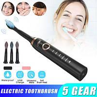 Ультрозвуковая зубная щётка с USB зарядкой + 3 сменные насадки