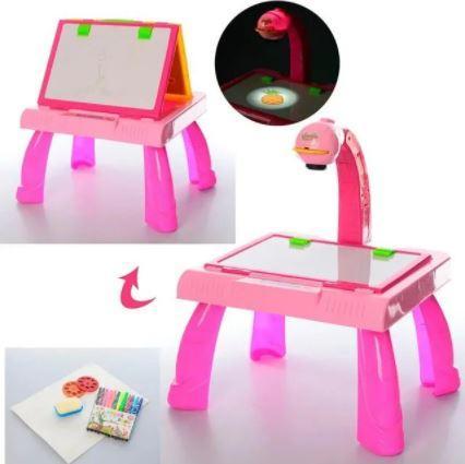 Детский мольберт  3 в 1 столик, проектор розовый