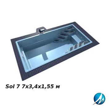 Бассейн LAGOS Sol 7 7х3,4х1,55 м