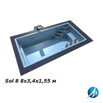 Бассейн LAGOS Sol 8 8х3,4х1,55 м