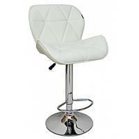 Барный стул хокер с хромированной ножкой нагрузкой до 120 кг мягкий с резиновым покрытием белый